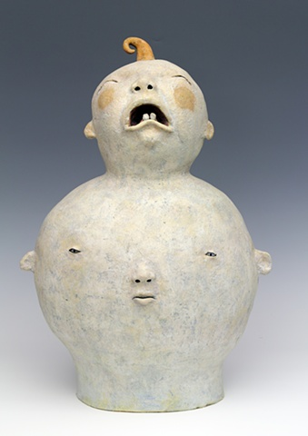 clay ceramic sculpture baby by sara swink