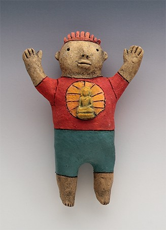 ceramic figure boy buddha by Sara Swink