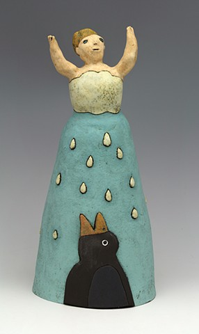 ceramic figure crow rain cloud by Sara Swink