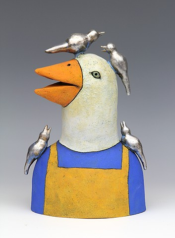 ceramic figure with birds by Sara Swink