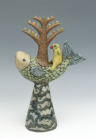 ceramic figure fish bird tree by Sara Swink