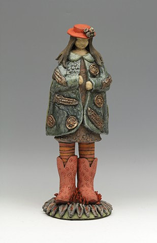 ceramic sculpture Sara Swink fish flowers cowboy boots