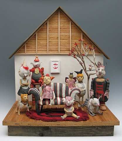 clay ceramic mixed media sculpture animal by sara swink, harold oxley, lisa kaser