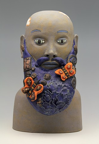 ceramic figure man beard butterfly by Sara Swink