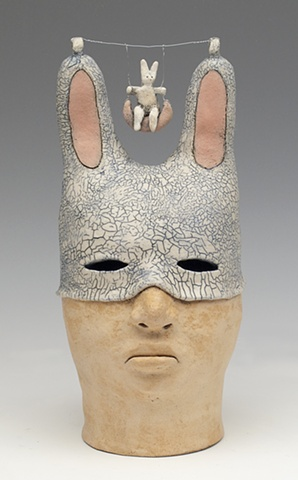 clay ceramic sculpture animal by sara swink rabbit swing