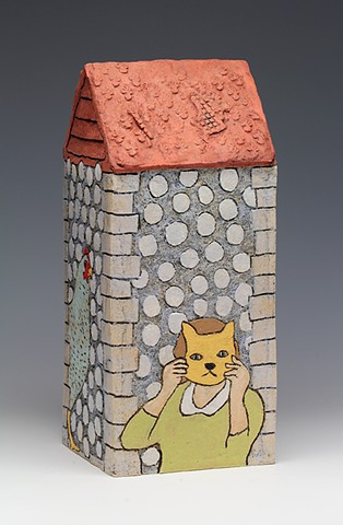 ceramic house cat mask by Sara Swink