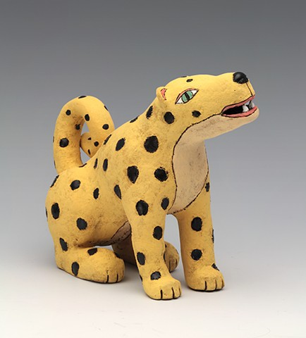 ceramic figure cat leopard pottery by Sara Swink