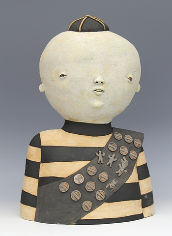 clay ceramic sculpture by sara swink boy scout