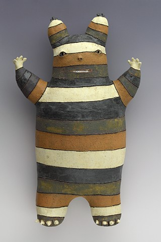 ceramic figure striped Wally by Sara Swink