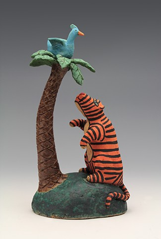 ceramic figure bird tiger palm tree island by Sara Swink