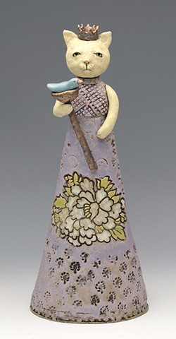ceramic figure cat princess queen by Sara Swink