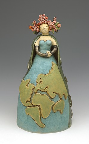 clay ceramic sculpture earth roses flowers pangea by sara swink