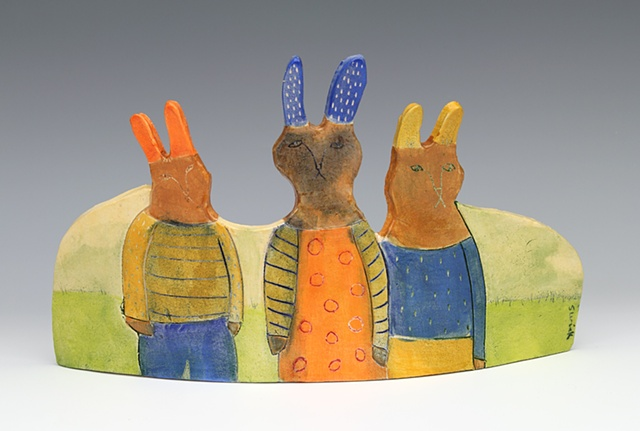 clay ceramic standing slab by sara swink rabbits