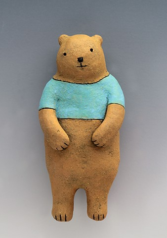ceramic figure bear teddy wall art pottery by Sara Swink