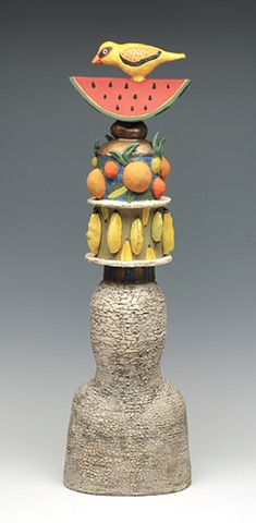 ceramic figure bird watermelon fruit by Sara Swink