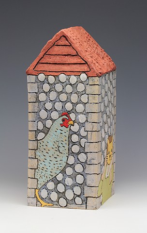 ceramic house chicken by Sara Swink