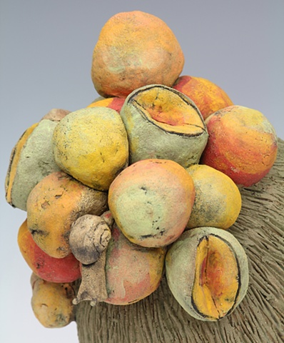clay ceramic head with fruit and snails by sara swink