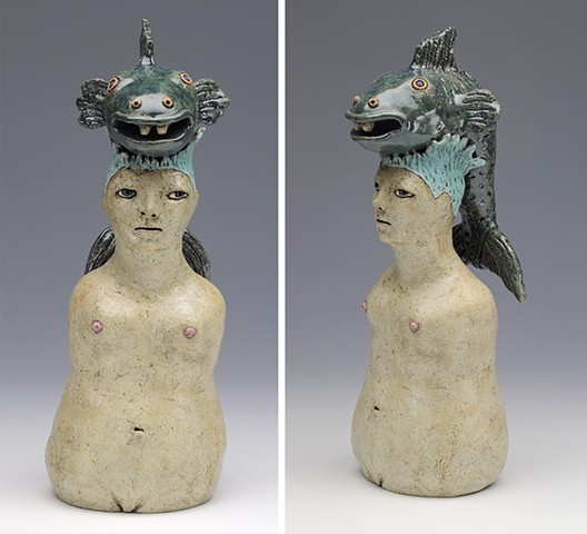 ceramic figure nude fish pottery by Sara Swink