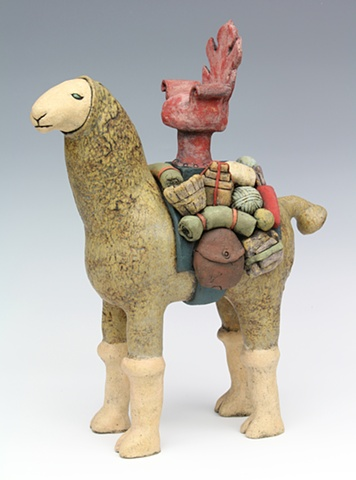 clay ceramic sculpture camel llama pack animal by sara swink
