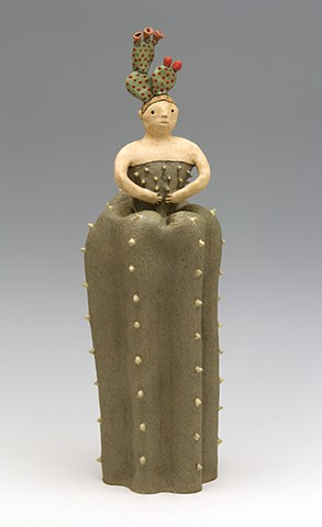 ceramic figure flower girl cactus thorns bloom by Sara Swink