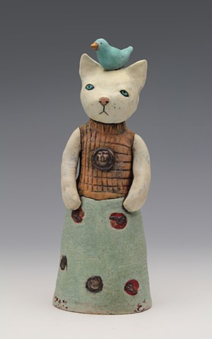 ceramic figure cat meow by Sara Swink
