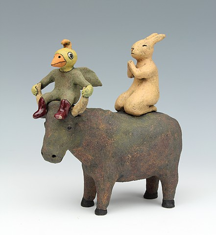 ceramic figure animal bull rabbit bird by Sara Swink