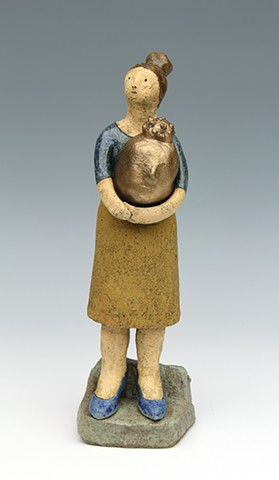clay ceramic sculpture Buddha by sara swink