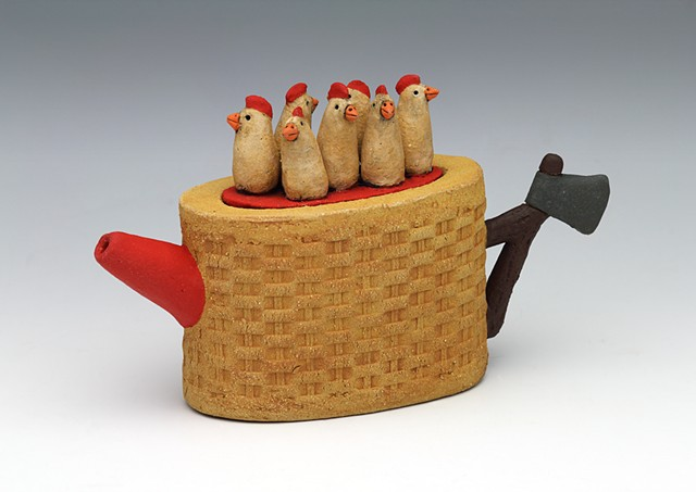 ceramic teapot chicken pottery by Sara Swink