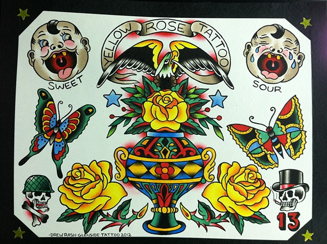Yellow Rose Tattoo Flash Trade