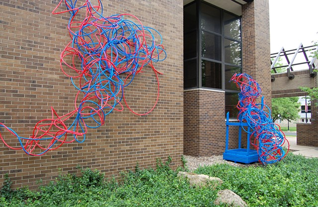 PEX plumbing pipe red blue line sculpture installation biomorphic Heather Brammeier fabric