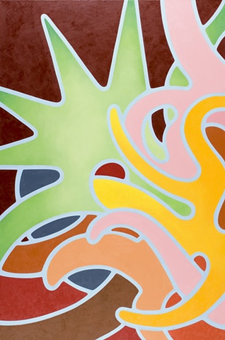 Heather Brammeier oil painting colorful biomorphic forms abstract architectural