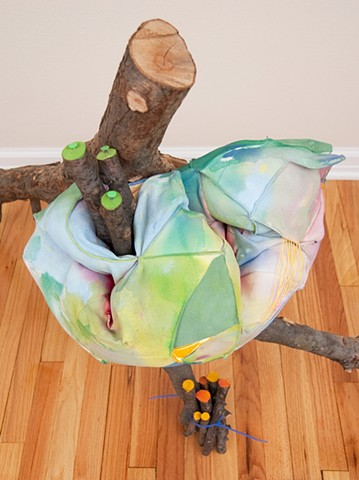 Heather Brammeier Jessica Bingham branches tubing colorful sculpture hive abstract installation fiber art