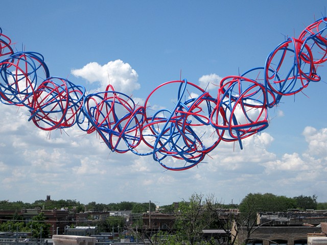 Heather Brammeier artwork PEX tubing red blue line sculpture installation biomorphic Heather Brammeier Lillstreet Art Center Rooftop Project Space