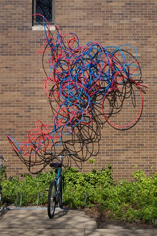 pex plumbing pipe red blue line sculpture installation biomorphic Heather Brammeier