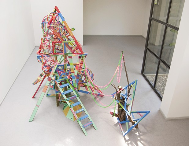 Heather Brammeier artwork installation colorful abstract sculpture tubing art installation Tower