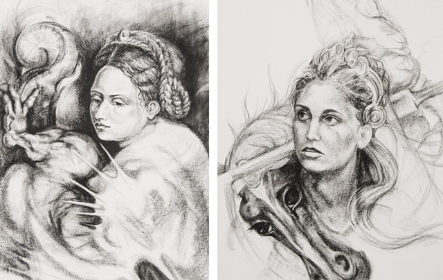 Heather Brammeier artwork drawing conte masterwork St. George and the Dragon portrait woman