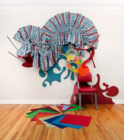 Heather Brammeier installation mixed media found objects colorful abstraction