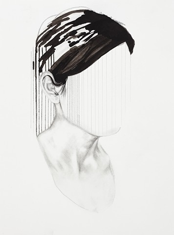 black and white, beautiful, weird, contemporary art, new contemporary, drawing, portrait, psychological realism, girl, woman, anonymous, fade, memory, nostalgia, meaningless, emptiness, void, the void, death, unknown, open air, blank slate, prison, trappe
