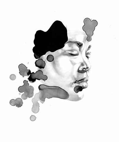 contemporary art, drawing, graphite, ink, ink blot, rorschach, black and white, new contemporary, portrait,