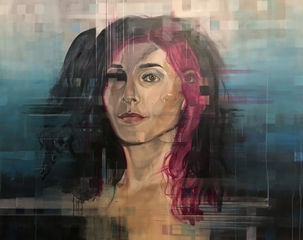 beautiful, eye, third eye, woman, gorgeous, portrait, bold, sexy, water, blue, fade, texture, acrylic, painting, new contemporary, double, twins, siamese, witch, pink, magenta, bold, confident, black, inky, drips, squares, hair, otherworldly, psychic, rea