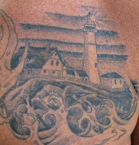Black and grey gray lighthouse tattoo steven williamson tattoo artist providence rhode island (ri) tattoo Rhode Island Providence