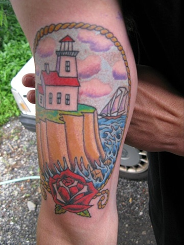 Lighthouse tattoo color tattoo steven williamson tattoo artist providence rhode island (ri) tattoo Rhode Island Providence