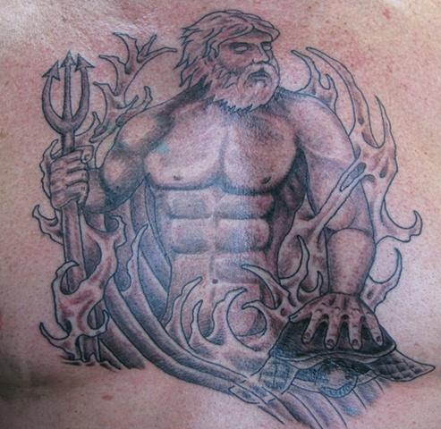 Neptune poseidon chest tattoo steven williamson tattoo artist providence rhode island (ri) tattoo Rhode Island Providence