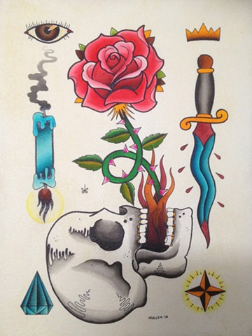 prov Rhode Island RI Providence Tattoo Art Freek Water color painting New England dagger skull rose candle numbers eye crown star diamond