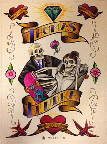 flash sheet water color Providence Rhode Island RI wedding painting skateboarding skate skulls love