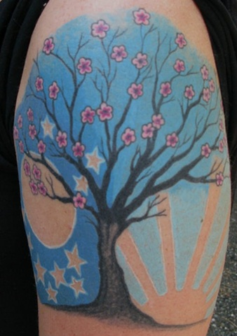 tree tattoo dawn dusk steven williamson tattoo artist providence rhode island (ri) tattoo Rhode Island Providence