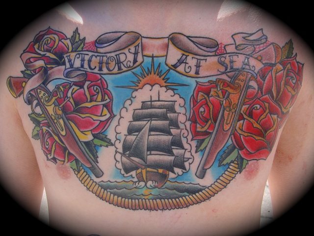 ship blunderbus gun roses chest piece tattoo color Providence Rhode Island RI