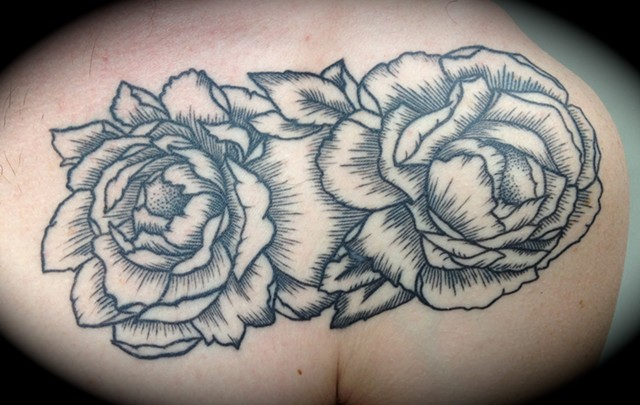 Providence, Prov, RI, Rhode Island, New England, Mass, Art Freek Tattoo, Good Tattoos grey work black and gray Color old school portrait clean line work roses