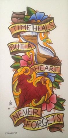 prov Rhode Island RI Providence Tattoo Art Freek Water color painting New England Dagger hour glass heart hourglass time heals