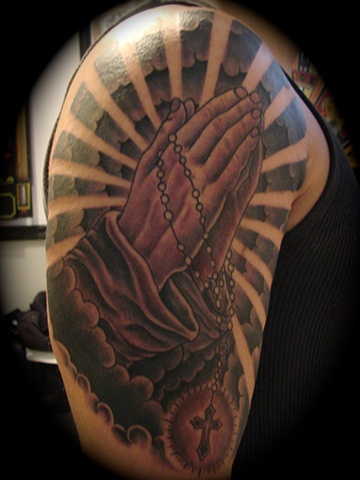 praying hands half sleeve black and grey gray rosary beads tattoo Providence Rhode Island RI